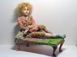 фимо, натуральный волос, 11 шарнирных соединений, авторская обработка тканей, 49 см, 2006 г.