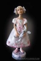 премо, роспись акрилом, зайчик - сухое валяние, волосы из шерсти козы, 29 см, 2010
