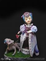 премьер, роспись акварелью и акрилом, волосы из шерсти, 21 см с подставкой, 2011