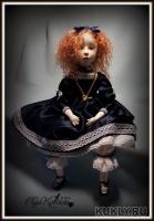 премьер, роспись акрилом, волосы из шерсти ламы, бусинные соединения, полностью подвижна, 48 см, 2012