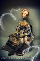 премьер, акрил, акварель, шерсть ламы, авторская ткань, бусинные соединения, подвижна, 52 см, 2013