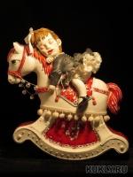 фарфор бисквит, авторская модель и форма, ткань, кружево, бисер, колокольчики, лента, 29 см, 2013