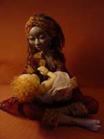 премо, цернит, ткань - авторский батик, 23 см (сидя), 2005 г.