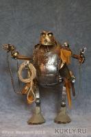 сталь, латунь, кожа, дуб, пенька, прозрачный пластик. Шарнирная кукла., Высота: 20,7 см, 2015