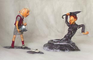 Fimo Puppen, дерево, текстиль, кожа, 32х17х22 см (ДхШхВ) и 14х10х20 см (ДхШхВ), 2008