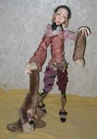 папье-маше,ткань, иск.мех,антикварные кружева,латунь, 109 см, 2007 г.