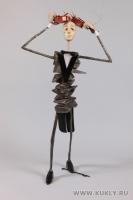 Папье-маше, винтажная скрипка, шёлк, 48 см, 2011