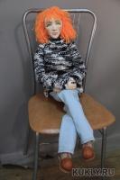 Фарфоровое папье-маше, шерсть, джинсовая ткань, кожа. Суставы гибкие., Длина - 90 см, 2013