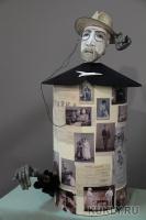 Папье-маше, бархат, шёлк, винтажные фотографии., Высота - 94 см, 2013