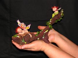 фимо, паперклей, органза, дерево, ткань, роспись, 14,5 см, 2006 г.