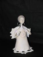 Паперклей, нитки (ручная вязка подставки и крыльев), шерсть, ручная роспись, 16 см, 2008